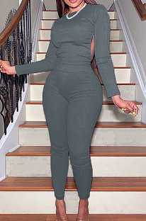 Grey Casual Sports Cotton Blend Long Sleeve O Neck Backless Tops Skinny Pants Sets YMT6250-3