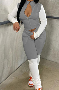 Grey Preppy Newest Spliced Long Sleeve Zipper Tops Trousers Casual Sets YMM9090-3