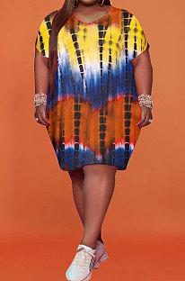 Yellow Women Printing Big Size Short Sleeve Round Collar Milk Silk Plus Mini Dress FA7200-2
