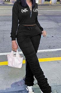 Black Wholesale Women's New Letter Embroidery Long Sleeve Zipper Tops High Waist Ruffle Pants Sets YMM9089-2