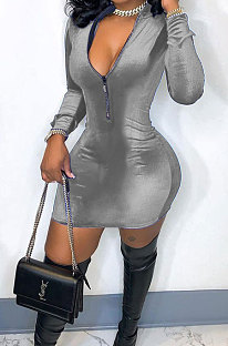 Grey New Luxe Velvet Long Sleeve Zip Front Collect Waist Solid Color Hip Dress YMM9088-4