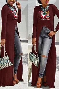 Purplish Red Basics Christmas Long Sleeve Round Neck Split Hem Longline Top WY61841-5