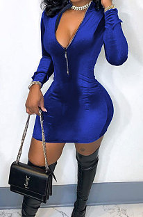 Blue New Luxe Velvet Long Sleeve Zip Front Collect Waist Solid Color Hip Dress YMM9088-3