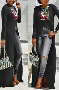 Black Basics Christmas Long Sleeve Round Neck Split Hem Longline Top WY61841-2