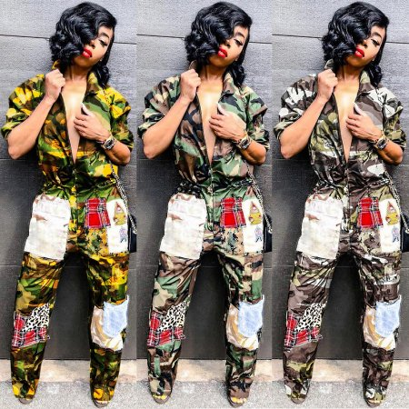 Camouflage Thin Turn-Down Collar Sport Jumpsuit SN3454