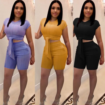 Hot Sale Bodycon Summer Pure Color Shorts Suits K8725