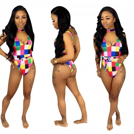 Colorful Plaid One Piece Swimwear With Belt SDD9048