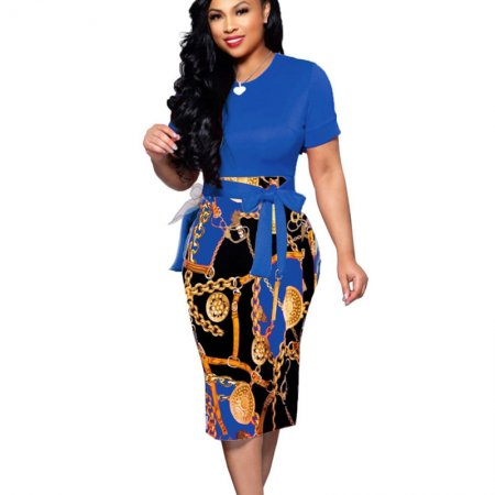 Blue Office Lady Solid Tops Chain Print Midi Dress X9121