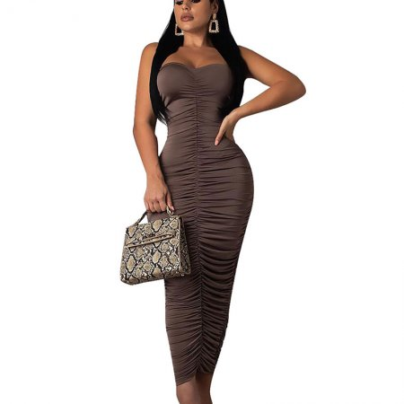 Brown Pure Color Strapless Evening Party Long Dress CY1123