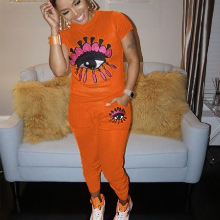 Orange Sequins Big Eyes Print T Shirts Pants Sets CM568