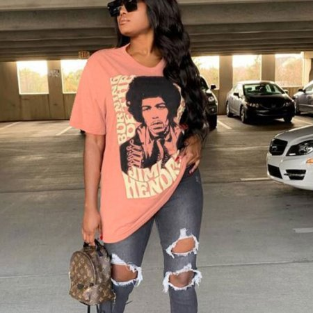 Pink Casual Cartoon Print Long Loose T Shirts TRS919