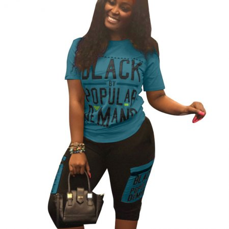 Blue Letter Print T Shirts Midi Shorts Fashion Outfits LS6269