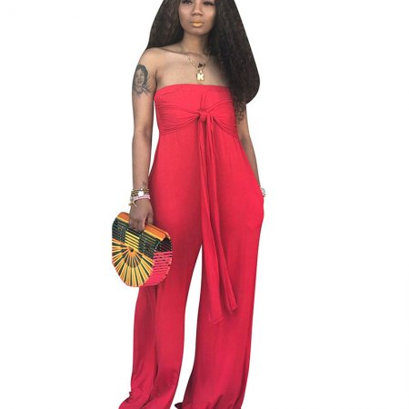 Red Strapless Wide Leg Pants Oversize Jumpsuits CM573