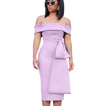 Light Purple Elegant Off Shoulder Solid Ruffle Midi Dress QZ3270