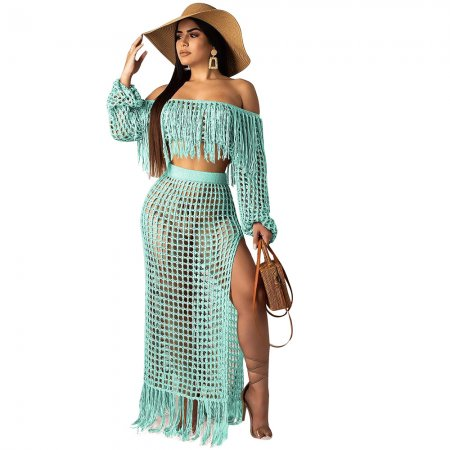 Green Crochet Tassel Fringe Skirts Two Pieces Sets SN3554