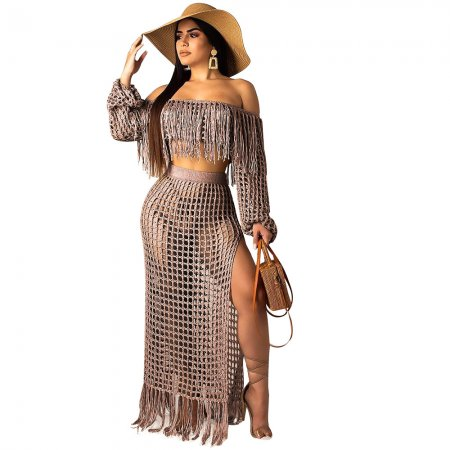 Coffe Crochet Tassel Fringe Skirts Two Pieces Sets SN3554