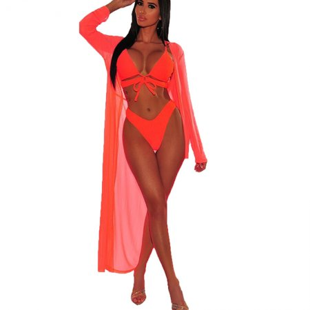 Pink Solid Sexy Bikini Sets With Long Cover Ups MDO9052