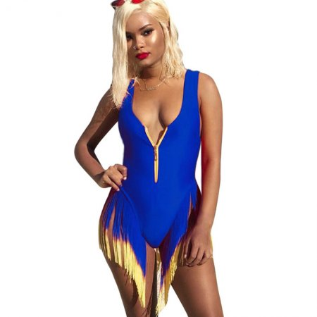 Blue Tassel Fringe Zipper Tank One Pieces Swimsuits LS6263