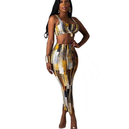 Print Tank Tops Long Skirts Two Pieces Sets CY1162