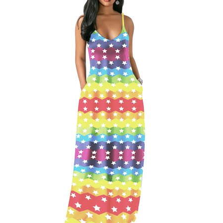 Horizontal Star Print Strapy Maxi Beach Long Dress MA6202