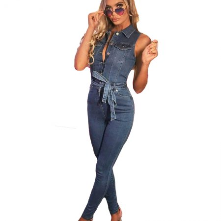 Casual Sleeveless Denim Bodycon Tied Jumpsuits QZ3279