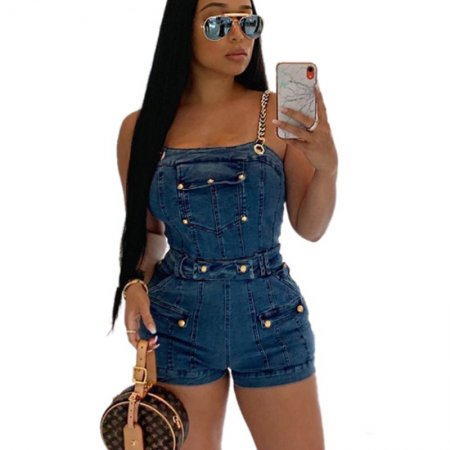 Sexy Chain Strappy Demin Bodycon Jeans Short Jumpsuits QZ6104