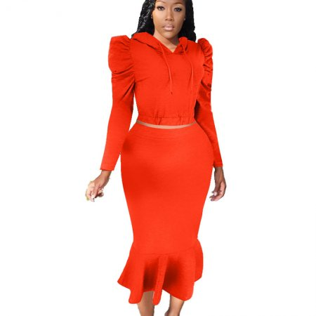 Red Hooded Long Wrinkled Sleeve Skirt set & Ruffled Skirt MN8075