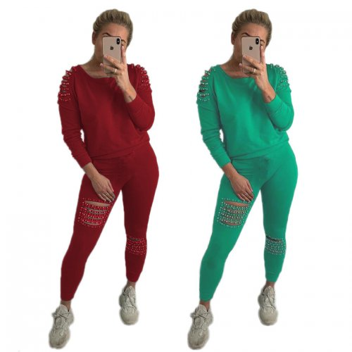 Hollow Out Beading Pure Color T-Shirt Pencil Leggings N9080