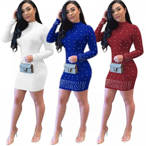 Solid Beading Long Sleeves Bodycon Dress E8250