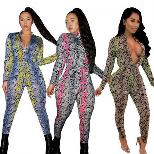 Sexy Zip Up Print Bodycon Jumpsuits CM301