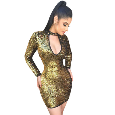 Sexy Bodycon Low-Cut Sequin Dress For Women LS6044