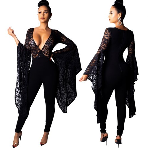 Black Lace Surplice Neck Bodycon Jumpuits R6138