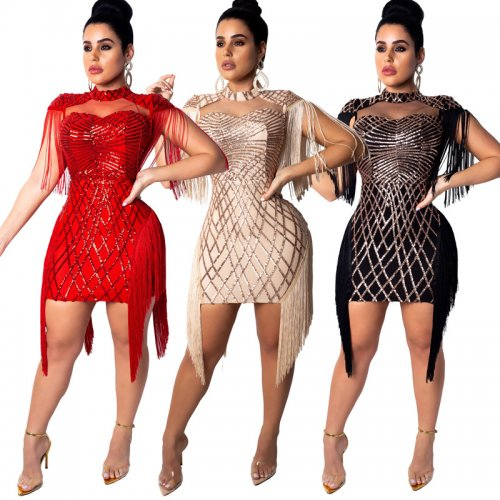 Sleeveless Tassel Glitter Sequins Bodycon Mini Dress CCY8033