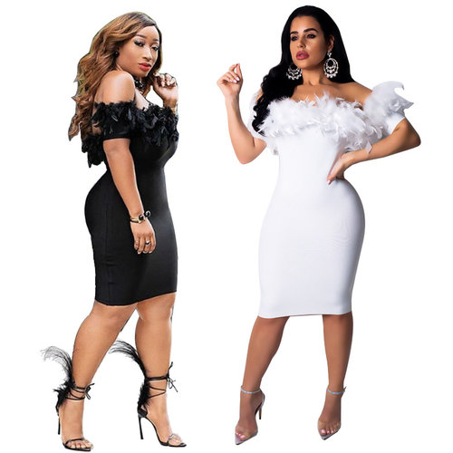 Club Bodycon Feathers Decorating Off Shoulder Dress MY9307