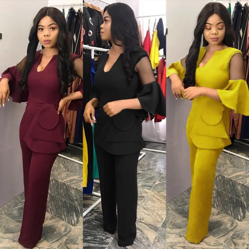 Office Lady Pure Color Wide Leg Jumpsuits KF72