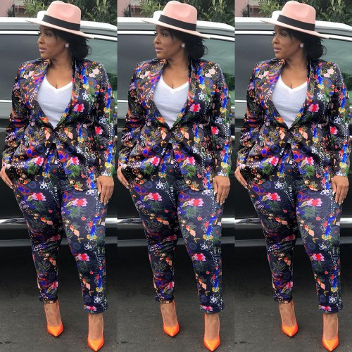 New Arrival Flower Print Casual Suits KF76