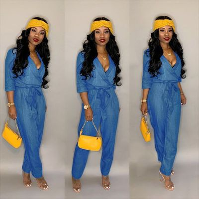 Wholesale Casual Denim V Collar Bodycon Jumpsuit ORY5078