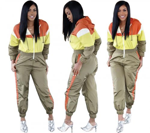 Sport Color Patchwrok Hooded Women Jumpsuit LA3069