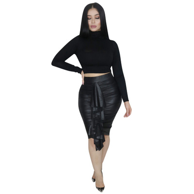 Trendy Pleated Black Stretchy Bodycon Skirts LS6208