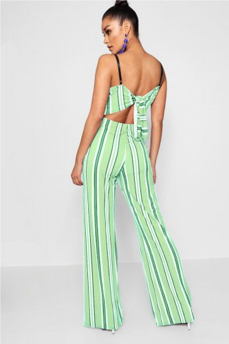 Striped Print Strapy Wide Leg Jumpsuits WY6449
