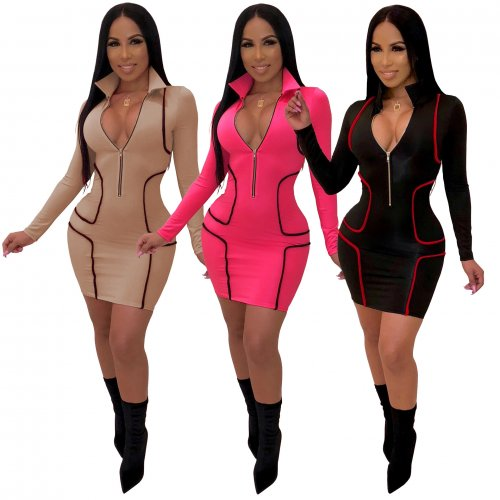 Zip Up Bodycon Mini Dress Long Sleeves SMR9098
