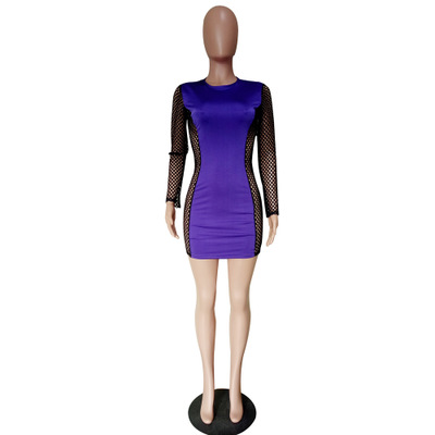 Women Sexy Club Mesh Patchwork Bodycon Dress LS6198