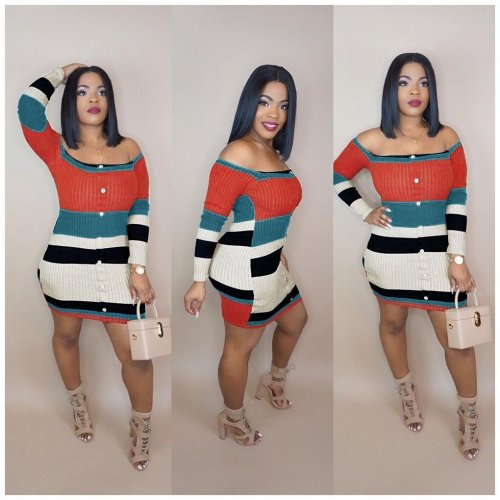 Stylish Colorful Knitted Strapless Mini Dress ORY5077