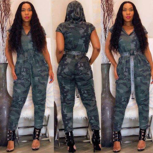 Camouflage Hooded Elastic Waistband Short Sleeves Jumpsuit HG5159