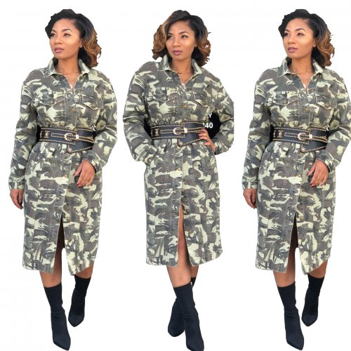 Camouflage Print Long Plus Size Overcoats SMR9044