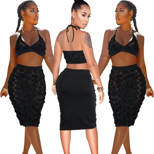Black Halter Bra Top Midi Skirts Two Pieces Sets SY8223
