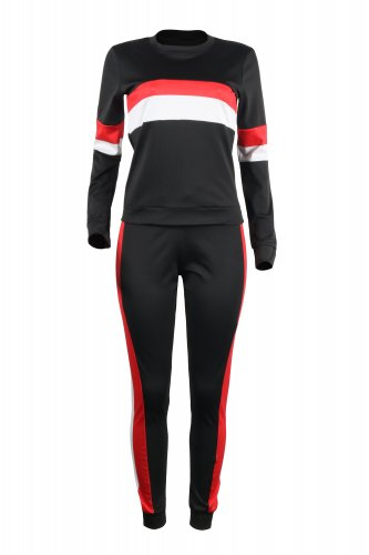 Running Women Stripe Patchwork Tight Pant Suits SY8307