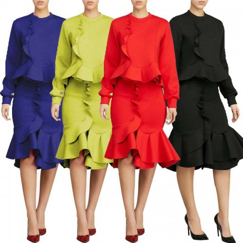 Leissure Solid Ruffle Shirts+Midi Skirts Sets L0238