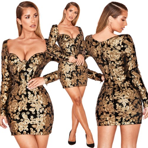Sexy Women Sequins Club Bodycon Dress JLX8581