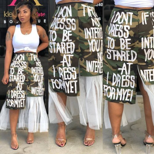 Letter Print Camouflage Midi Skirts ARM8026